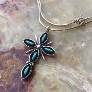 Prime Jewelry Design Jewelry - Sterling Silver Zuni Needlepoint Turquoise Cross